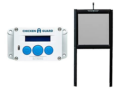 ChickenGuard Waterproof Automatic Chicken Coop Door Opener/Closer with Timer/Light Sensor Plus Predator Resistant Self Locking Pop Hole Door Kit. Coop Accessory with 3 Year Warranty (Extreme) (Best Small Chicken Coop)