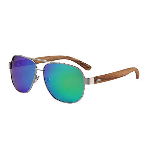 Unisex UV400 Color de de Gray clásicas de conducción polarizadas Green Gafas Madera Gafas bambú sol bambú Gafas xFT1IvBn