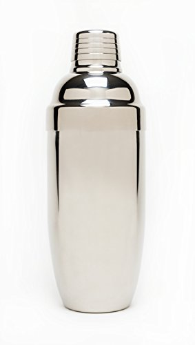Polished Stainless-Steel Cocktail Shaker With Double Wall Design-Elegant and Sophisticated–With Jigger and Built-In Silicone Sealed Strainer-For Hot or Cold Drinks