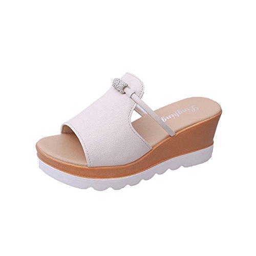 e Sandali IANGL Bianco Alto Pan all'aperto da Donna Tacco Sandali Scarpe Estivi Pantofole Spagna di di Pantofole Spessore PxwUxq4F