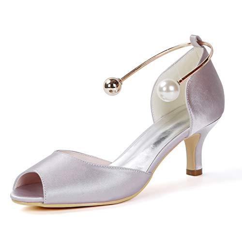 Peep Frauen Schnalle High Toe Satin Ferse Größe Schuhe Hochzeit Brautjungfer 43 Heels 35 6cm L Gray YC Abend 6Fqwzz