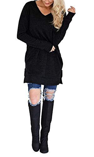 Stile Giovane Manica con Camicetta Primaverile Stlie Longshirt Moda Accogliente Schwarz Tasche Moda V Neck Donna T Monocromo Shirts Modern Eleganti Casual Grazioso Lunga Magliette Baggy Tshirt Shirt Shirt nzw0Zq4gxz