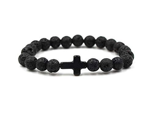 JOYID 8MM Ornament Lava Volcanic Stone Beads Turquoise Cross Elastic Stretch Bracelet Religion Bangle for Women Men-Black