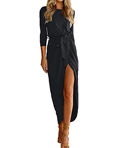Qearal Womens 3/4 Sleeve Summer Beach Vacation Bodycon High Slit Maxi Dress Black L (Cheap Dresses To Wear To A Summer Wedding)