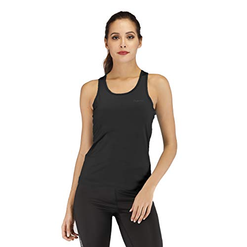 (Workout Tank Tops for Women's Sleeveless Scoop Neck Tank Tops Athletic Yoga Tops Running Exercise Tank Tops Black)