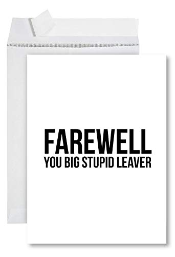 Andaz Press Funny Jumbo Farewell Card With Envelope 8.5 x 11 inch, Funny Office Card, You Big Stupid Leaver 1-Pack, Includes Envelope at end of each title