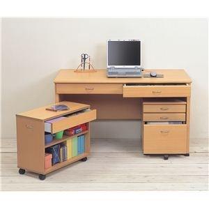 システムパソコンデスク/学習机 【ナチュラル】 デスク板幅120cm ラック/チェスト付 【デスク B01JCOF9KU