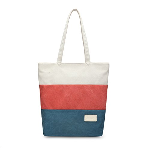 Canvasartisan Women's Canvas Shoulder Tote Bag, Women Stylish Laptop zippered tote HandBag-Vertical Red&blue