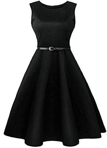 Women's Summer Floral Cocktail Print Black Sleeveless Dress Style Jaycargogo Hepburn RFAqwx6