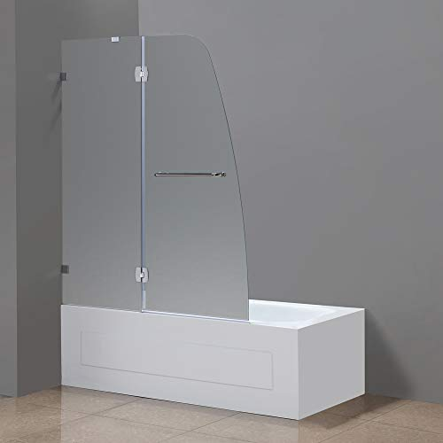 "Aston Soleil 48"" x 58"" Completely Frameless Tub Hinge Door in Frosted Glass, Polished Chrome"