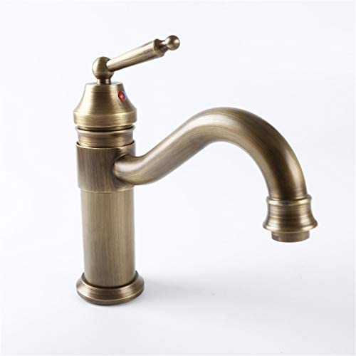 蛇口 絶妙な銅コア大きな垂直シングルシンクキッチン蛇口 洗面所 洗面台用 (Color : Brass)