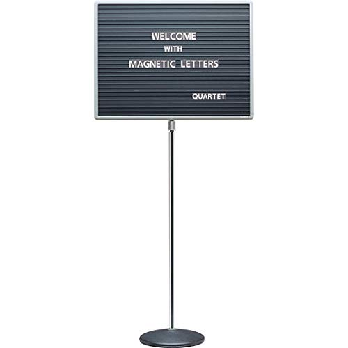 Adjustable Single-Pedestal Magnetic Letter Board, 20 x 16, Black/Gray Frame