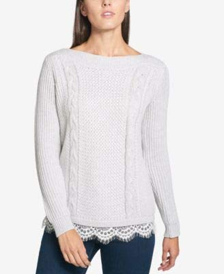 Trim Pearl Sweater (Tommy Hilfiger Women's Lace-Trim Cable-Knit Boat Neck Sweater Pearl Heather XXL)