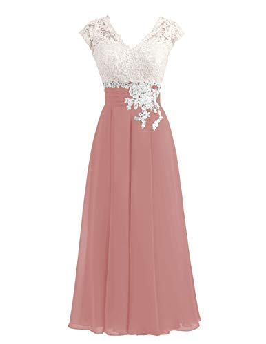Women's Ivory Lace Top Chiffon Button V-Neck Bridesmaid Dresses with Cap Sleeves Mother of The Bride Dresses (Dusty Rose, 8)