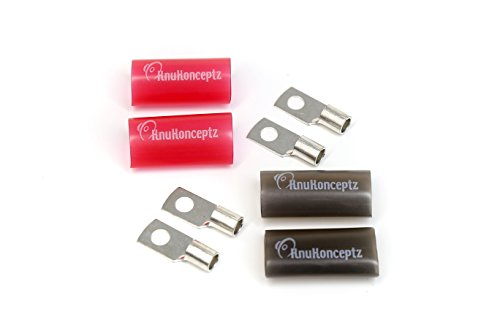 KnuKonceptz Tinned Copper 4 Gauge Crimp Style Ring Terminal (2 Pair) with Heat Shrink