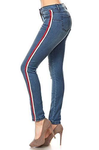 Butt Lift, Push Up, Supper Stretch Side Striped Women's Skinny Jeans in Washed Blue Size ()