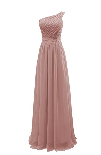YORFORMALS Women's One-Shoulder Floor Length Chiffon Bridesmaid Dress Long Evening Gown Ruched Bodice Size 10 Dusty Rose