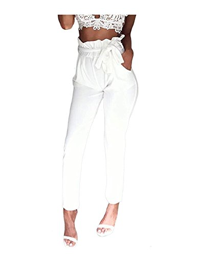 Autunno Vintage Monocromo Pantaloni Bianca Inclusa Giovane Donna Women Pantaloni Harem Waist Grazioso Moda High Libero Cintura Tempo Pantalone Pantaloni Eleganti Primaverile Jogging FzFxO