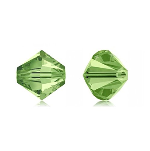 Swarovski Bead Caps (100pcs Genuine Preciosa Bicone Crystal Beads 3mm Peridot Green Alternatives For Swarovski #5301/5328)