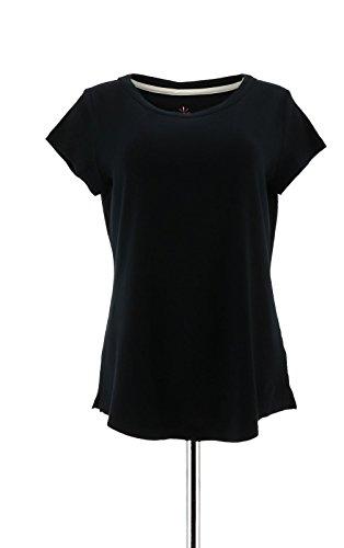 Essential Scoop Neck Short - Isaac Mizrahi Essentials Scoop Neck Short SLV Knit T-Shirt Black S New A275455