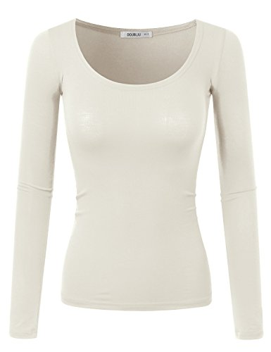 Doublju Slim Fit Sexy Deep Round Neck T-Shirt Top (Made In USA / Plus size available) IVORY X-LARGE