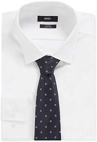 Dark Blue 50423482 Boss Hugo Boss Circle-Motif Woven Italian Silk Tie