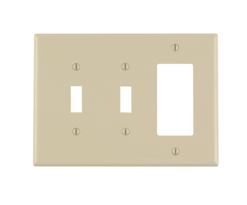 Leviton PJ226-I 3-Gang 2-Toggle 1-Decora/GFCI Combination Wallplate, Midway Size, Ivory (Plate Ivory Toggle)
