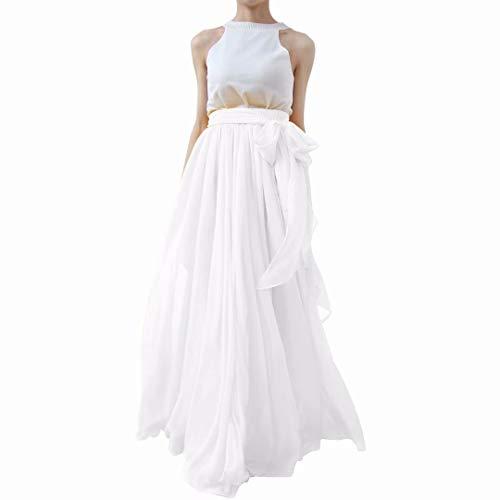 Lanierwedding Summer Beach Chiffon Long High Waist Maxi Skirt With Belt For Wedding 2017 White Size M (Skirt Wedding Chiffon)