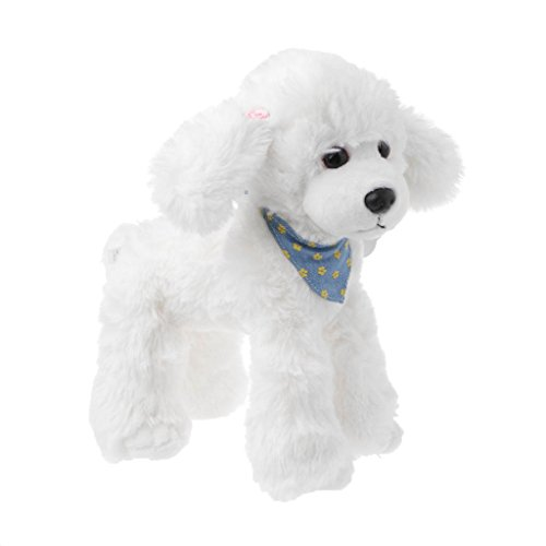 (Seaskyer 1Pc Realistic Poodle Soft Plush Toy , Cute Dog Soft Doll Stuffed Pillow Decoration Gift ,Children Kids Birthday Gift (White))