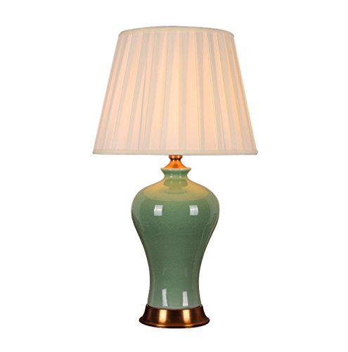 MILUCE Chinese ceramics table lamp 36 64cm living room bedroom high-end pure copper lamps ( Color : Lampshade-A ) by MILUCE Ceramics Lamp