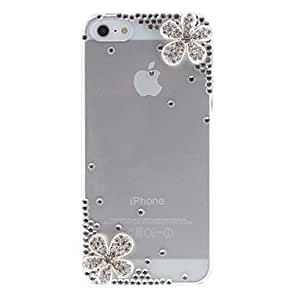 HP- Plata de las flores delicadas con caja dura transparente del diamante con adhesivo de uñas para el iPhone 5/5S