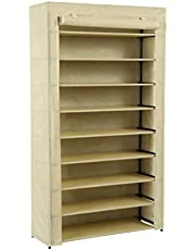 """Homebi 9-Tier Shoe Rack Wide Shoe Tower Closet Shoes Storage Cabinet Portable Boot Organizer Hold 36 to 45 Pairs of Shoes with Non-Woven Fabric Cover and 9 Durable Shelves,34.65"""" W x 11.81"""" D"""