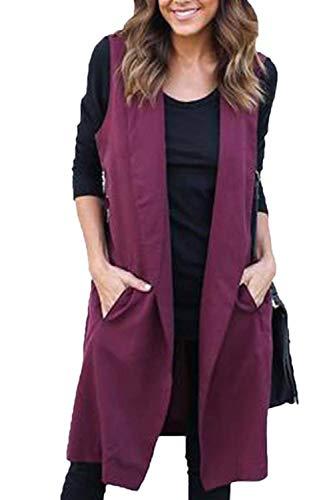 Cardigan Solapa Mujer Moda Sin Retro Unicolor Laterales Rojo Streetwear Otoño Con De Gabardinas Swag Cinturón Parkas Chaleco Bolsillos Mangas 8wqdI8