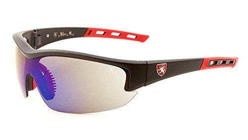 Khan Semi Rimless Wrap Shield Around Sunglasses (Red & Black Frame, Blue Purple Flash Mirror)