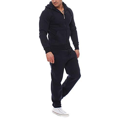 Sunhusing Men's Solid Color Plus Velvet Zipper Hooded Sweatshirt Drawstring Pants Sports Suit from Sunhusing