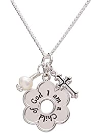 """Girl's Sterling Silver""""I Am a Child of God"""" Daisy Necklace"""