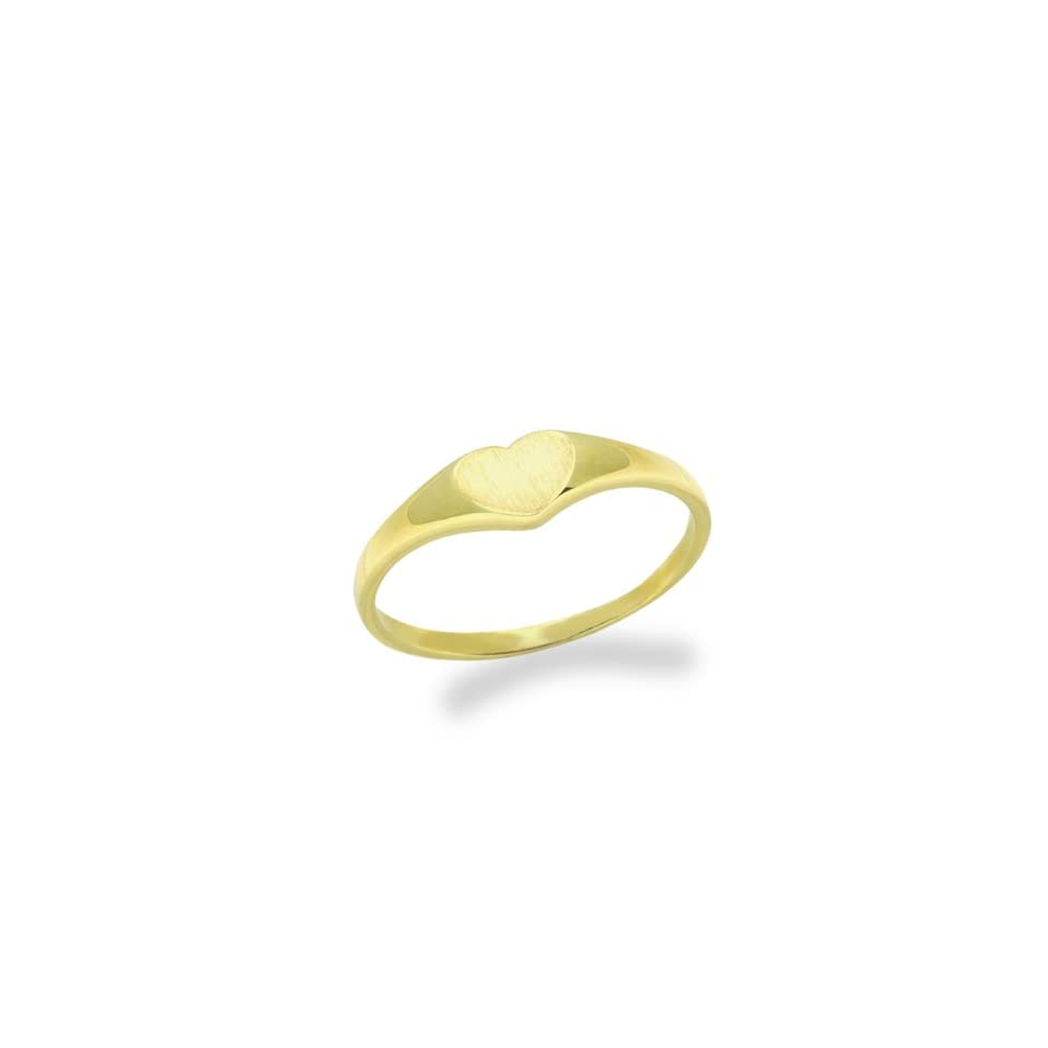 14K Baby Ring Plain Heart Yellow Gold Ring Size 2 To 5 For Baby, Kids And Teens