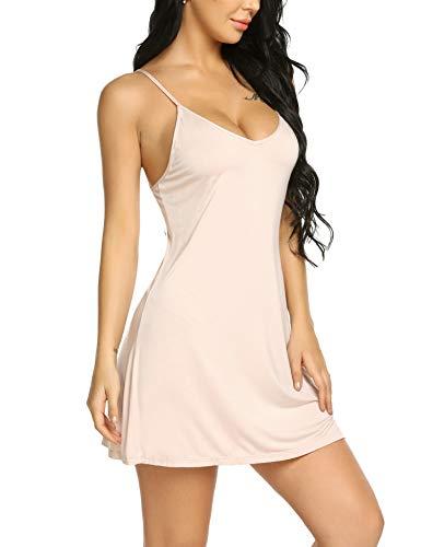 Cotton Slip Chemise - Avidlove Women's Chemise Modal Sleepwear Full Slip Lace Babydoll Nightgown Outfit Apricot L