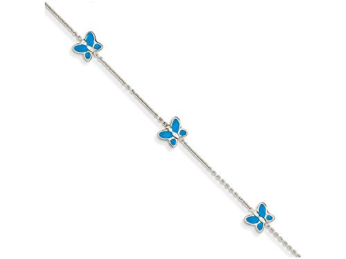 Finejewelers 10 Inch 14k White Gold Blue Enameled Butterfly Anklet