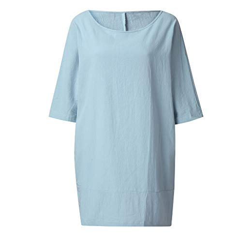 Ballad Women Loose Tunic Tops Casual Plus Size Solid Short Sleeve Shirt Cotton Linen Asymmetrical Tops Blue (Tom Brown Tracker Knife Sheath For Sale)