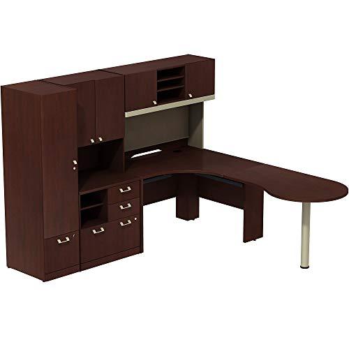 Bush Business Furniture Quantum Right Handed Peninsula L Shaped Desk with Hutch and Storage - Harvest Cherry 92W X 90D X 67H ERGONOMICHOME BUSH BUSINESS FURNITURE Scroll Down for Product Description (Bush Quantum Storage File)