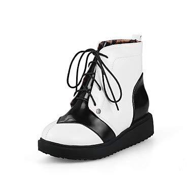 NVXUEZIX Mujer Zapatos Cuero Patentado Invierno Otoño Confort Botas Tacón Plano Dedo Redondo para Blanco Negro Rojo, us9 / eu40 / uk7 / cn41 XIUXIU