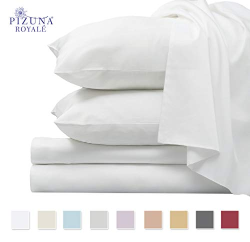 1000 Thread Count Luxury White Queen Sheets, 100% Long Staple Combed Cotton Sheets, Smooth Sateen Queen Hotel Bed Sheets with Deep Pockets fit Upto 15 inch (White 1000 Thread Count Sheets Queen)