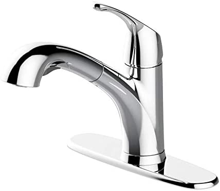 Project Source Polished Chrome 1-handle Deck Mount Pull-out Kitchen Faucet