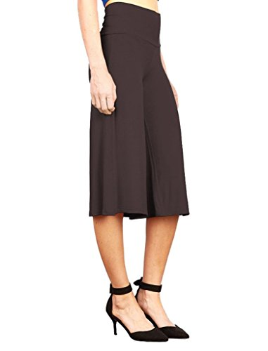 Women's Stretch Gaucho Pants with Banded Waist Shorts With 1/2 Pants Coffee XL ()