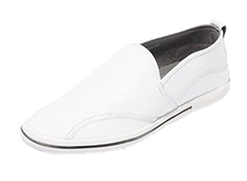 HAPPYSHOP(TM) Mens Casual Leather Ventilated Light Moccasin Slip-on Penny Loafers Driving Shoe White