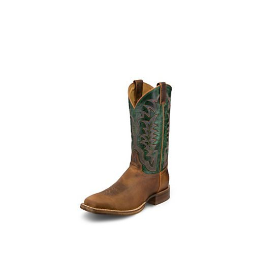 Justin Men's 2811 Distressed Cognac/Royal Green Boot by Justin Boots