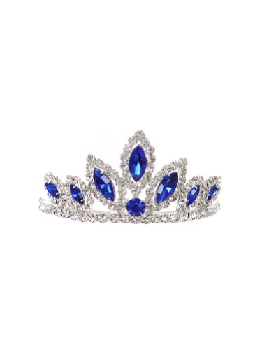 WonderfulDress Dazzling Stoned Crown Tiara SMALL-Royal Blue-One Size