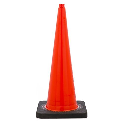 36'' Orange Traffic Safety Cone with Black Base (Pack of 6)