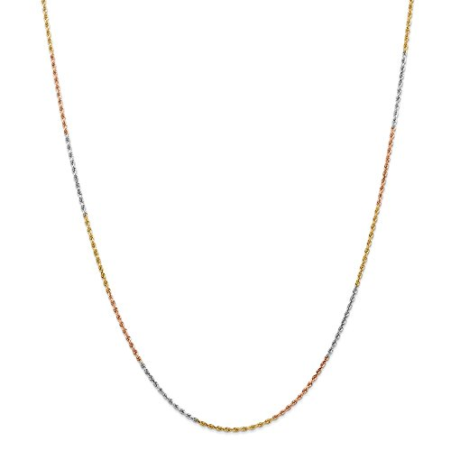 Tri Color Rope - Solid 14k Gold Tri-Color 1.5mm Diamond-Cut Rope Chain Necklace 16